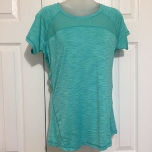 Reebox Women T-Shirt Medium Athletic Top Green